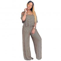 Cold Shoulder Mini Stripe Jumpsuit