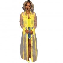 Casual See-through Patchwork Yellow Long Coat