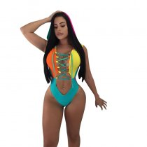 Patchwork Hollow-out Multicolor One-piece Swimwear
