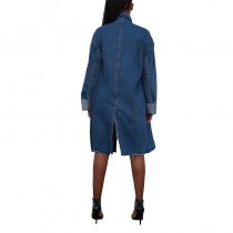 Zipped Up Long Denim Coat With Long Sleeves