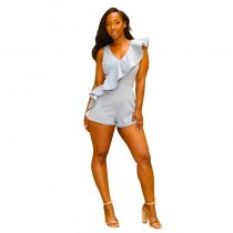Occassional Ruffles Denim Rompers With V-neck