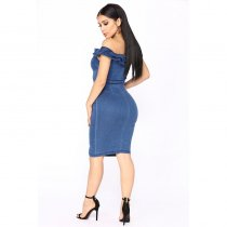 Off The Shoulder Ruffles Denim Dress