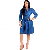 Loose Denim Dress With Button