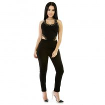 Sexy Black Sleeveless Cut-Out Beaded Jumpsuits