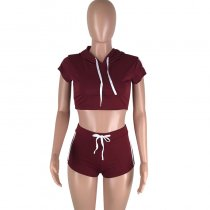 Play A Game Of Tennis Short Set - Wine Red/White
