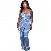 Round Neck Striped Straps Jumpsuit