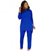 Plain Color Wrap Back Long Top and Pants