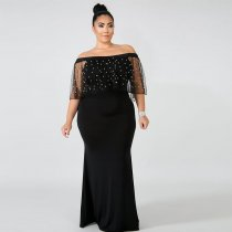 Off Shoulder Black Beaded Evening Dress