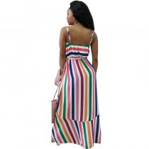 Striped Straps Irregular Maxi Dress