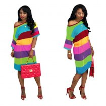 Rainbow Striped Short Sleeve Casual Dresses