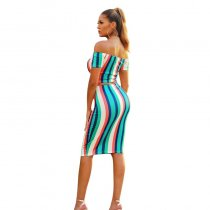 Colorful Striped Off Shoulder Two-Piece Skirt