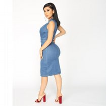 Deep V-neck Sexy Stretch Denim Dress