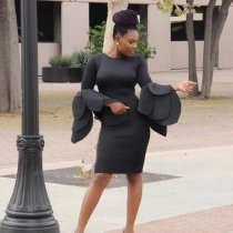 Exaggerated Round Neck Long Sleeve Knee Length Bodycon Dress