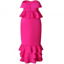 Strapless Ruffle Solid Sheath Mermaid Dress