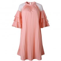 Fat Women A-Line Pleated Dress with Mesh Layered Sleeve