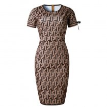 Elegant Short Sleeve Print Midi Dress
