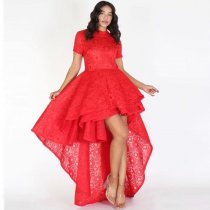 Floral Lace Draped Irregular Banquet Elegant Party Dress