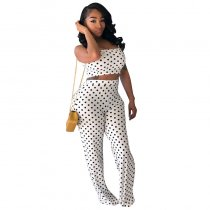 Polka Dot Straps Vest And Flares Trousers