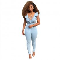 Straps Ruffle Hollow Out Jumpsuits