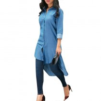 Casual Asymmetrical Denim Blue Mid Calf Dress