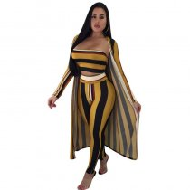 Casual Striped Yellow Qmilch Pants Set(With Coat)