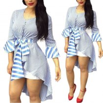 Casual Asymmetric Striped Shirt Dress