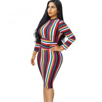 Stand Collar Colorful Striped Print Mid Dress