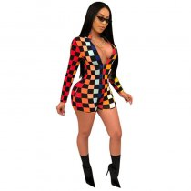 Long Sleeve Printed Plaid Playsuits