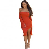 Dew Shoulder Party Orange Cotton Blends Knee Length Dress