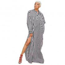 Street Style Striped Cotton Blends Floor Length Dress