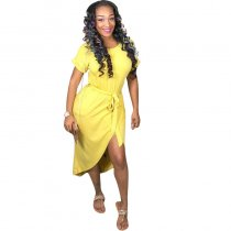 Casual Asymmetrical Yellow Ankle Length Dresses