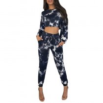 Casual Printed Black Two-piece Pants Set