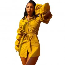 Golden T-shirt Dress With Lantern Sleeves