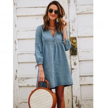 Explosive Lantern Sleeve Denim Dress