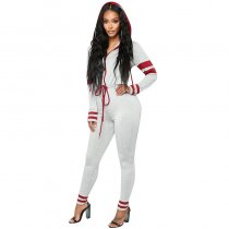 Find Myself Lounge Jumpsuit - Heather Grey/Wine
