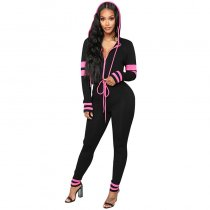 Find Myself Lounge Jumpsuit - Black/Fuchsia