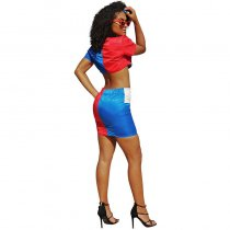 Color Block Patchwork Two-piece Skirt Set