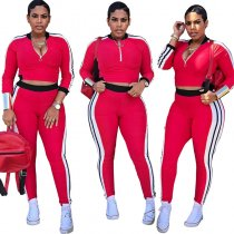 Color Block Patchwork Sports Two-piece Set