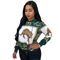 Casual Animal Printed Hoodies Top