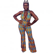 Fashion Deep V Neck Printed Multicolor One-piece Jumpsuit