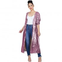Sequined Long Sleeve Casual Coat