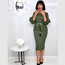 Solid Color Lantern Sleeve Belted OL Midi Dress