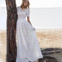 Short Sleeve Lace Beach Maxi Dress
