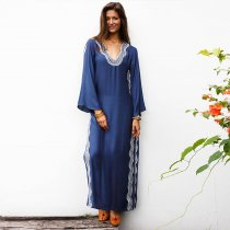 Side Split Embroidered Loose Beach Dress