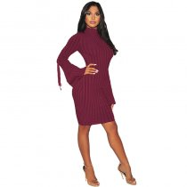 Dylan Sweater Lace-Up Midi Dress with Wide Cuffs