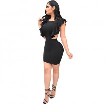 Cut Out Sexy Black Club Dress With Ruffle Trim