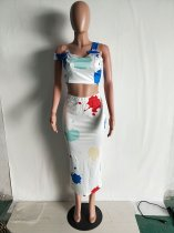 Casual Printed White Two-piece Skirt Set