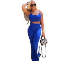 Patchwork Loose Blue Twilled Satin Two-piece Pants Set