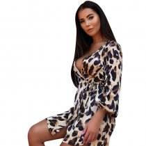 Leopard Frill Tie Waist Mini Dress