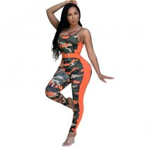 Camouflage Printed Skinny Orange One-piece Jumpsuit